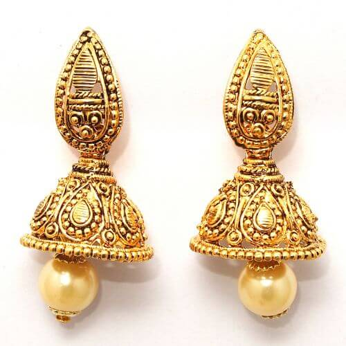Kriaa by JewelMaze Zinc Alloy Gold Plated Jhumki Pearl Drop Earrings-AAA0978