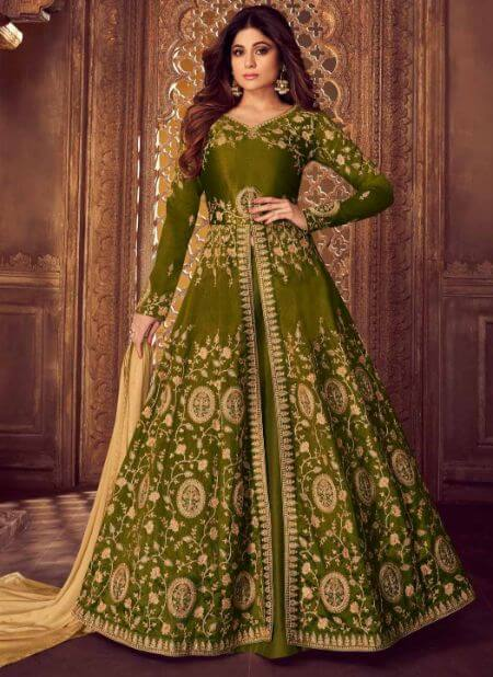 Shamita Shetty Green Anarkali Lehenga