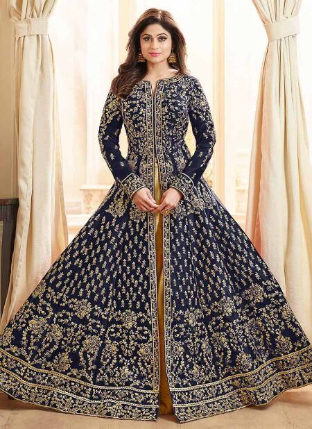 Shamita Shetty Navy Blue Anarkali Lehenga