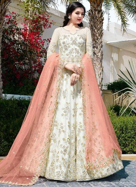White Embroidered Long Choli Anarkali Lehenga