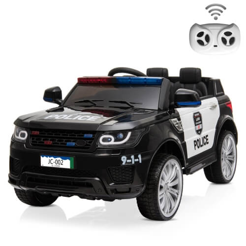 12V 2.4GHz Kids Children LED Lights Remote Control Ride On Car Electric Police Car with Mic (Black)
