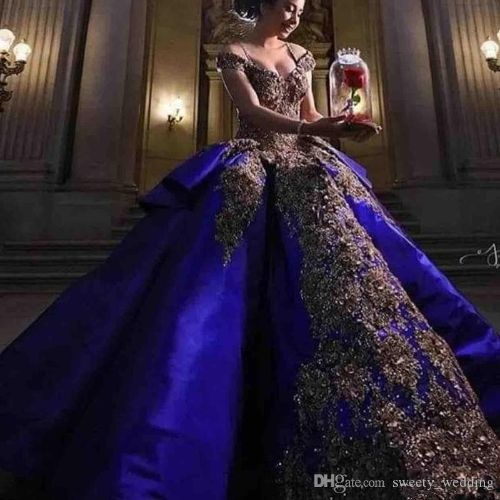 2019 Luxury Detail Gold Embroidery Royal Blue Quinceanera Dresses Ball Gown Sweet 16 Dress Off Shoulder Masquerade Pageant Prom Gown