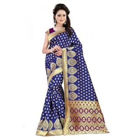 Ajira Purple Blue Banarasi Silk Self Design Saree With Blouse