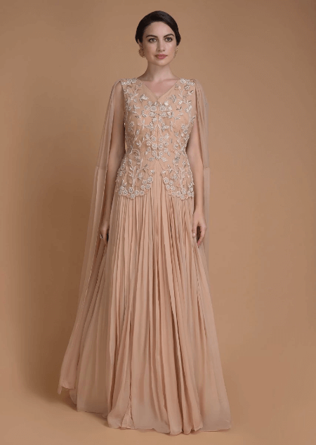 Apricot Peach Indowestern Gown With Floral Embroidered Bodice And Attached Dupatta Online