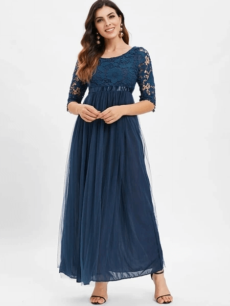 Auxo Hollow Design Lace Half Sleeves Dress