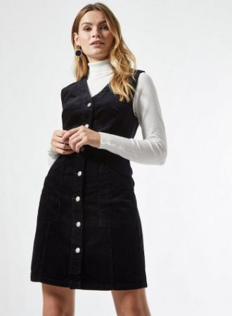 Black Cord Pinafore Dress