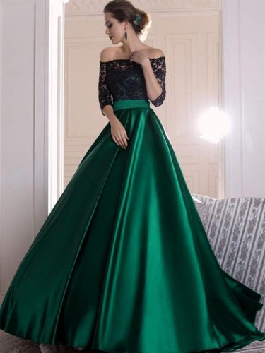 Black Lace Dark Green Satin Prom Party Dresses Off Shoulder 3/4 Long Sleeve A Line Floor Length Long Evening Gowns Formal Occasion