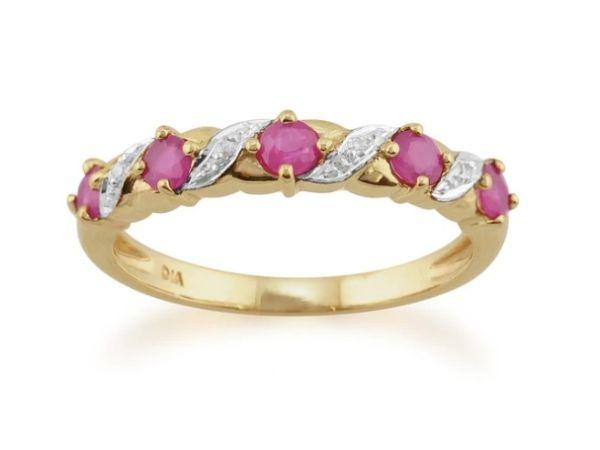 CLASSICART NOUVEAU RUBY & DIAMOND HALF ETERNITY RING
