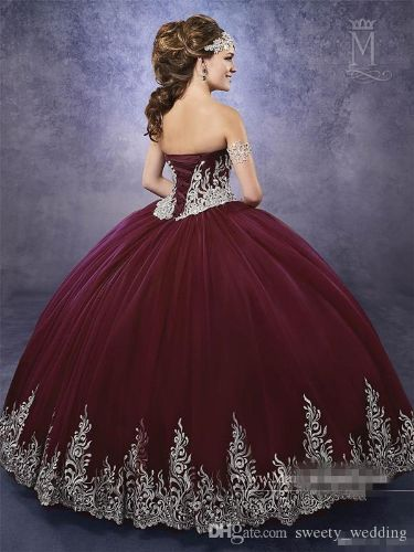 Dark Burgundy Quinceanera Dresses 2017 Mary's with Sheer Bolero and Lace Up Back Appliques Royal Blue Sweet 16 Dress Custom Made