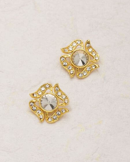 Ethnic Yellow Gold Plated Stud Earrings