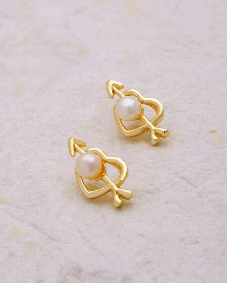 Heart and Arrow Pearl Embellished Earrings