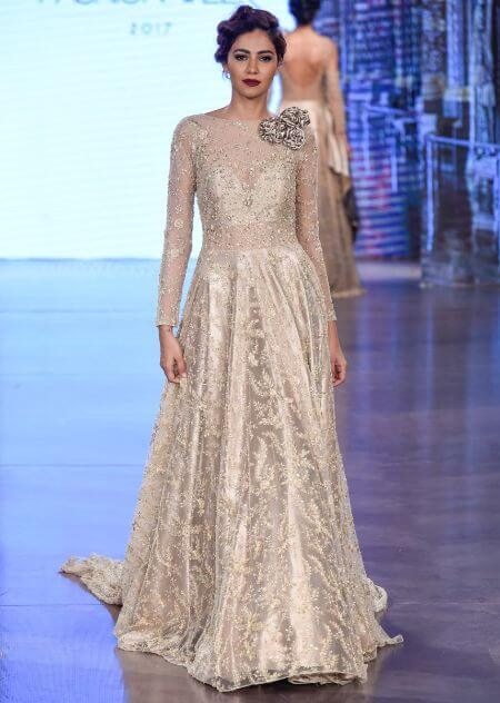 Ivory & Beige Cocktail Dress Adorned With Intricate Pearl Embroidery And 3D Flowers Online