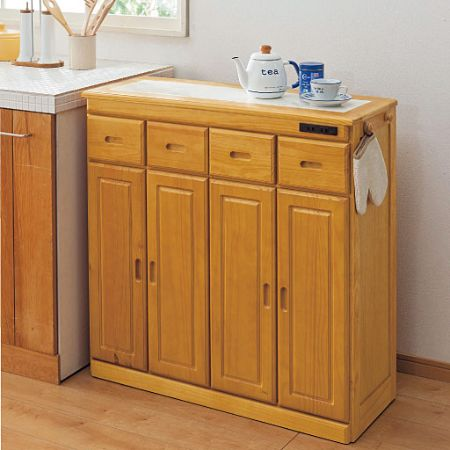 Kitchen counter (with natural wood and outlet)
