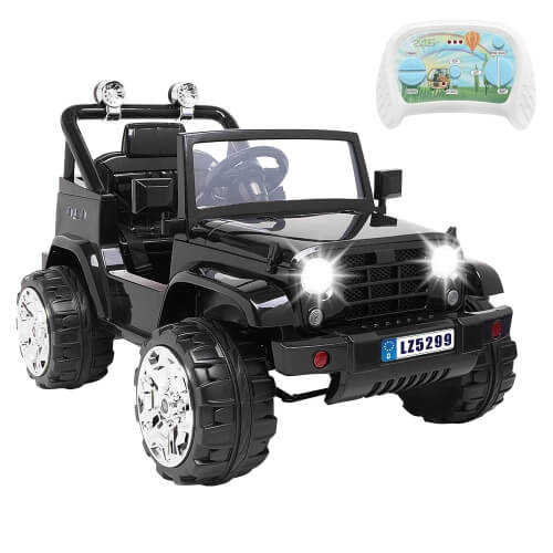 LEADZM LZ-5299 Small Jeep 12V 7Ah x 1 Dual Drive Ride On Car with 2.4G Remote Control (Black)