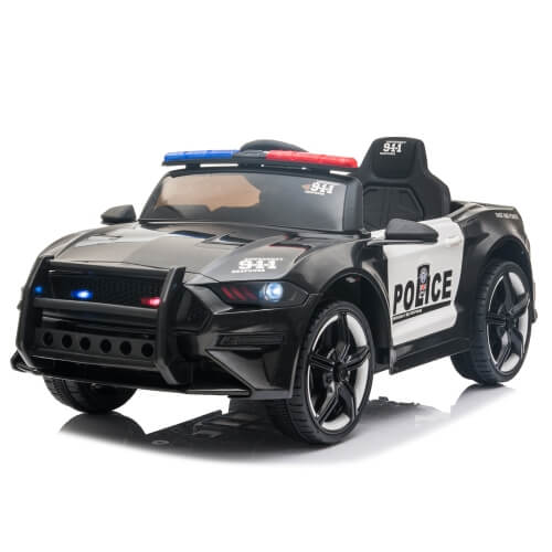 LQ 12V Kids Ride On Car Police Double Drive 2.4GHz Remote Control Sports Car with LED Lights & Siren &Microphone(Black)