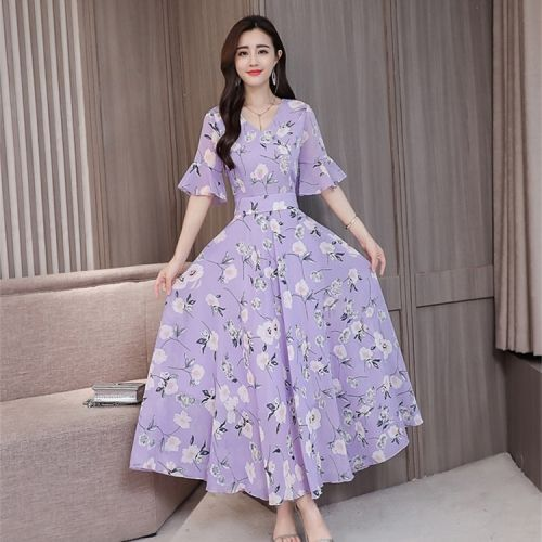 Loose And Thin Floral Fashion Mid-length Dress