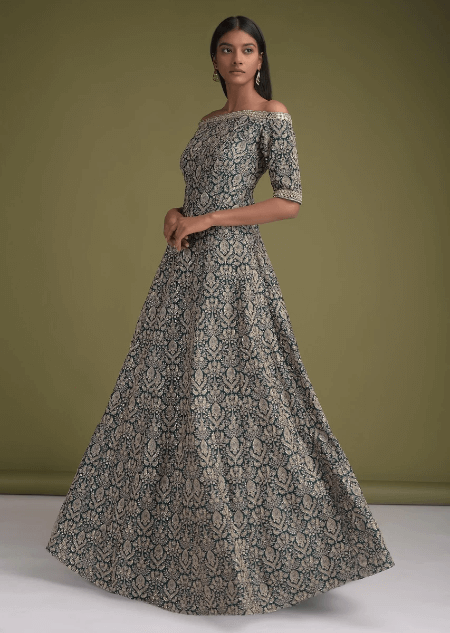 Peacock Blue Indowestern Gown In Silk With Off Shoulder Neckline And Thread Work In Ethnic Jaal Online