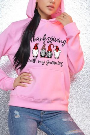 Pink Fashion Casual Print Basic Hooded Collar Tops