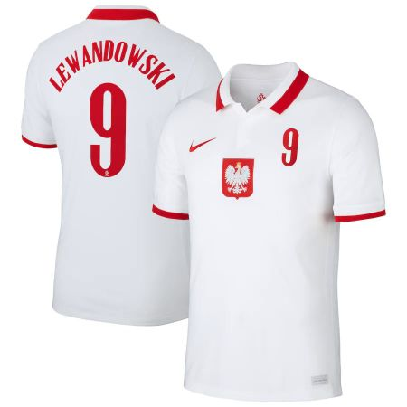 Poland Home Stadium Shirt 2020-21 with Lewandowski 9 printing