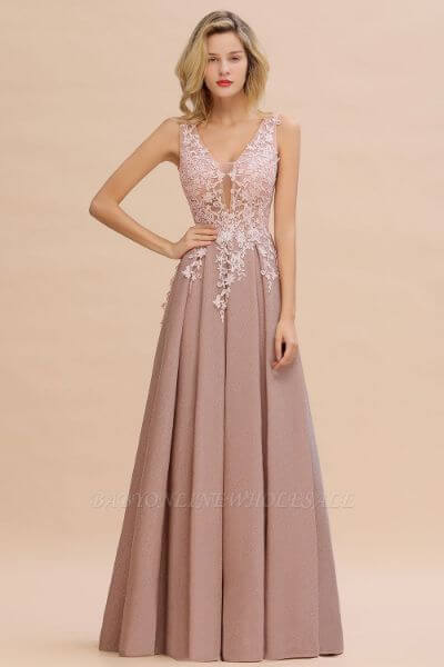 Rebacca A-Line V-neck Floor-Length Tulle Sequined Prom Dresses