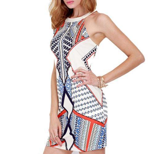 Round Neck Sleeveless Reins Geometric Digital Printing Dress