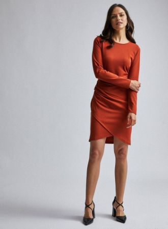 Rust Wrap Skirt Bodycon Dress