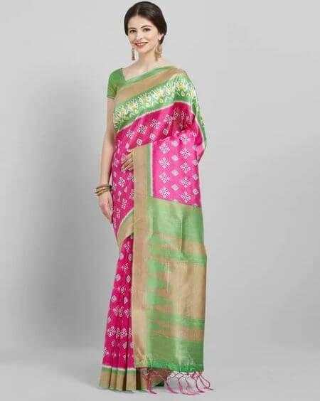 SAREE MALL Saree Mall Pink & Green Daily Art Silk Printed Saree