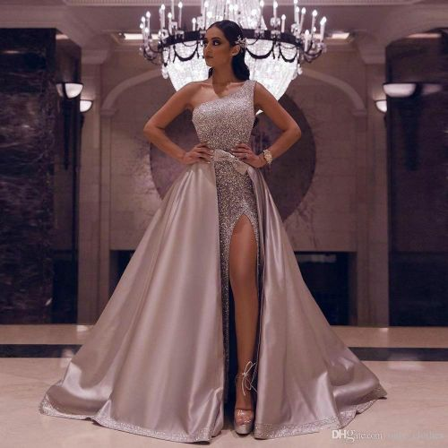 Sexy Aso Ebi Arabic Rose Gold Reflective Prom Dresses 2020 A Line High Split Evening Dresses Sequined With Detachable Second Reception Gowns