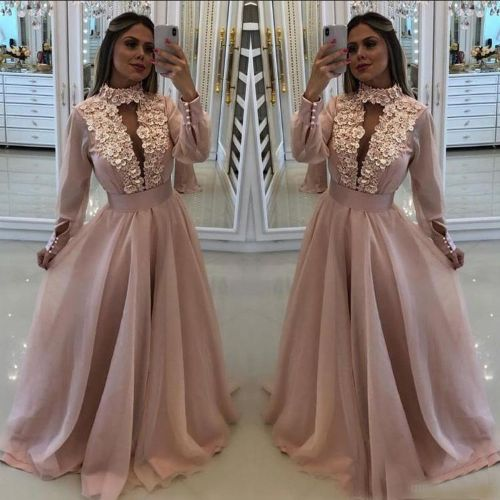 Sexy New Blush Pink Prom Dresses Long Sleeves With Flowers High Neck Keyhole Crystal Beads Organza Formal Party Dress Evening Gowns Wear EF2