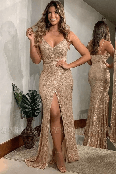 Shining Golden Spaghetti Strap V-neck Sequin Prom Dresses Online with Sexy High Split