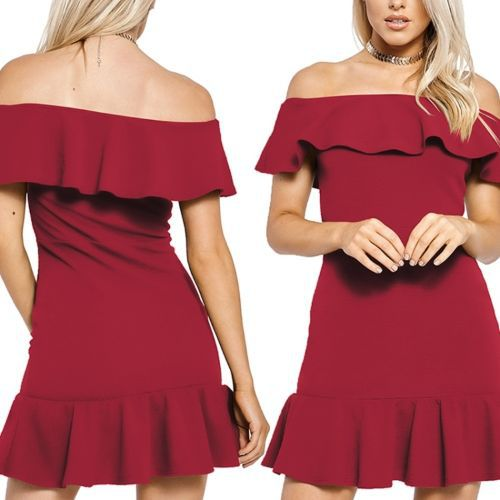 Solid Color Collar Strapless Flounced Dress