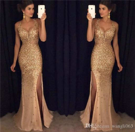 Split Gold Prom Dresses Sexy Sheer Deep V Neck Full Beaded Crystal Backless Formal Evening Party Gowns