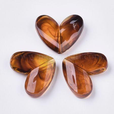 Transparent Acrylic Beads, Imitation Gemstone, Heart, SaddleBrown, 27.5x33x8.5mm, Hole: 3mm (X-OACR-S028-118)
