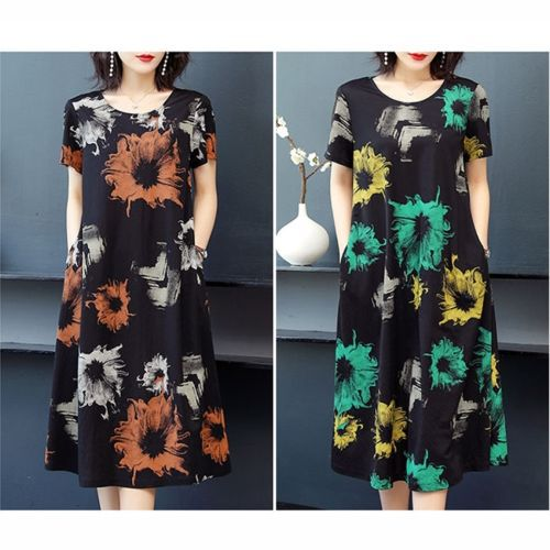 Western Style Loose And Thin Mid-length Dress With Age Reduction Print