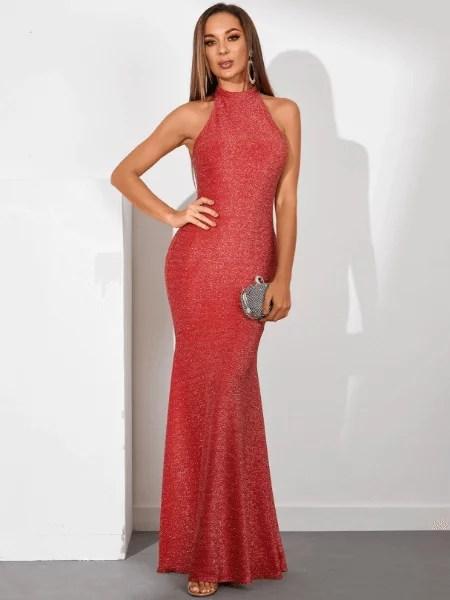 YOINS Red Glitter Halter Sleeveless Maxi Mermaid Dress