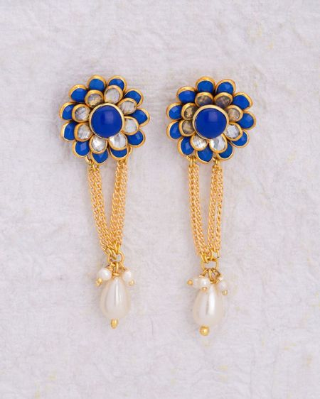 Yellow Gold Plated Blue Floral Earrings