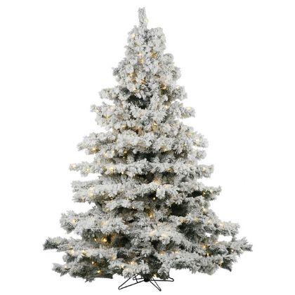 7.5 x 68 Flocked Alaskan Tree with 900 Warm White Italian LED Lights