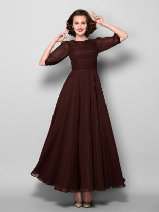 A-Line Mother of the Bride Dress Elegant Jewel Neck Ankle Length Chiffon Half Sleeve with Sash - Ribbon Ruched 2020