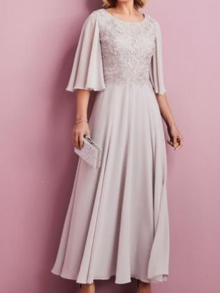 A-Line Mother of the Bride Dress Elegant Jewel Neck Ankle Length Chiffon Lace Half Sleeve with Pleats Embroidery 2020