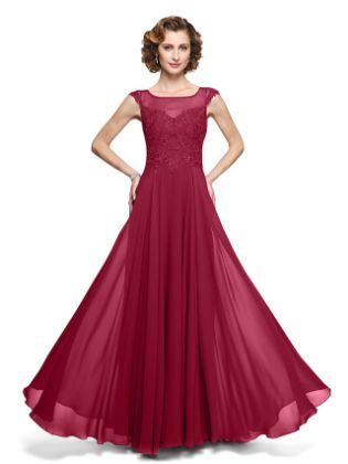 A-Line Mother of the Bride Dress Elegant Jewel Neck Ankle Length Chiffon Lace Sleeveless with Appliques 2020