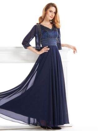 A-Line V Neck Ankle Length Chiffon Mother of the Bride Dress 617 Beading