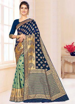 Blue N Green Benarasi Silk Half N Half Saree