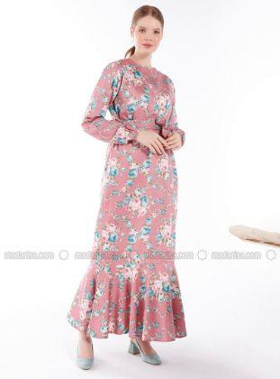 Ceylan Otantik - Dusty Rose - Dusty Rose - Floral - Crew neck - Unlined - Cotton - Dress