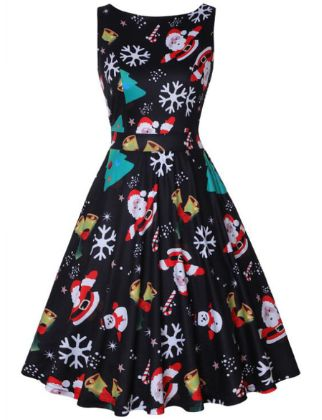 Christmas Dresses for Women Sleeveless Vintage Cocktail Dress Funny Printed Birthday Holiday Swing Party Dress
