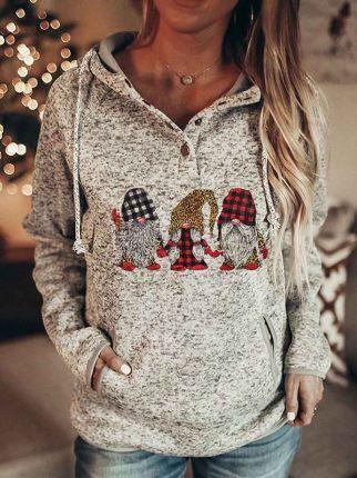 Christmas Plaid Hooded Long Sleeve Sweatshirt