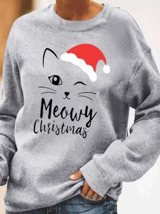 Christmas cat print crew neck sweatshirt