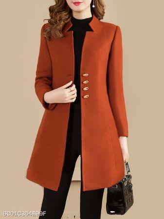 Collarless Plain Coat