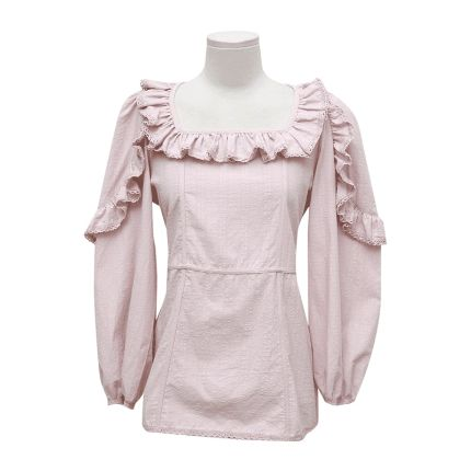 Frilled Square Neck Tie-Back Blouse