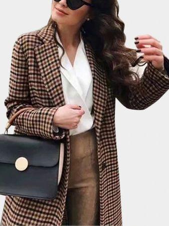 Grid Lapel Collar Long Sleeves Button Design Coat