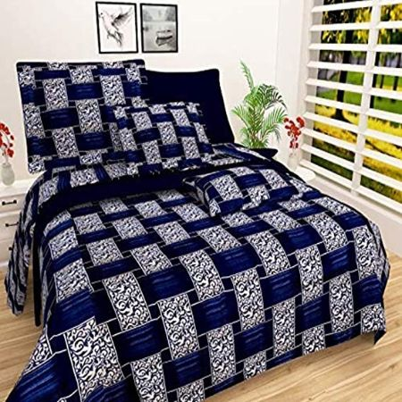 IVAZA Premium 160 TC Latest Beautiful 3D bedsheet Double Bed Polycotton with Two Pillow Covers